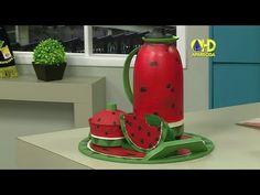 Vida com Arte | Reciclagem de Açucareiro - Pintura de Melancia por Márci... Watermelon Crafts, Biscuit, Fun Crafts, Home Appliances, Diy, Recycle Art, Recycled Materials, Watermelon, Restroom Decoration