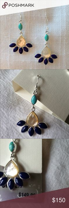 """🔥Closet Liquidation Sale🔥❗️Final Price❗️ Genuine 925 sterling silver (earrings are stamped). Mother of pearl, turquoise and navy blue earrings. Measure 1.75"""" total length. New with tags. 📦Bundle and save💰5%! ❌Price is firm unless bundled❌ Jewelry Earrings"""
