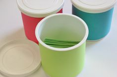 Use frosting containers as storage for math centers!