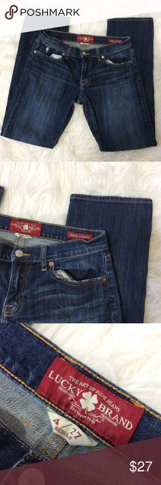 """Lucky Brand """"Sienna Tomboy"""" Jeans Straight Lucky Brand """"Sienna Tomboy"""" Jeans Dark Wash Straight Fit 4/27 Regular.  Awesome condition.  Inseam: 30 1/2 inches  Waist laying flat: 14 1/2 inches  Front rise: 8'  Back rise: 11' Lucky Brand Jeans Straight Leg"""