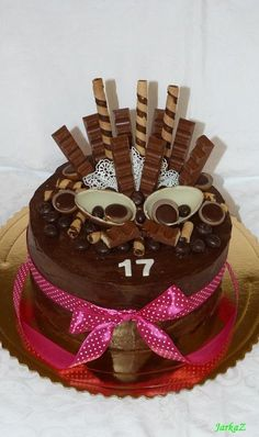 Torta s čokoládkami; Autor: JarkaZ Cake Name, Mini Tart, Chocolate Cake, Muffins, Food And Drink, Birthday Cake, Cupcakes, Ideas Party, Food Cakes