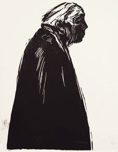 woodcut Portrait of Käthe Kollwitz (II) by German born printmaker Dirk Hagner