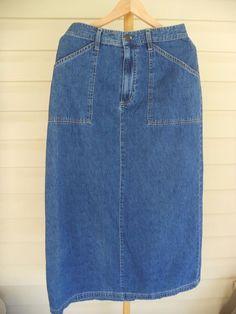 WHITE STAG Woman's Petite Size 11 Dark Denim Long Skirt Back Slit Front Zipper #WhiteStag #Maxi #Everydaywear