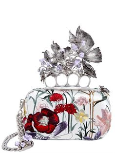 ALEXANDER MCQUEEN KNUCKLE BOX FLORAL EMBROIDERED CLUTCH