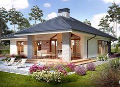 Piwonia - zdjęcie 1 Modern Bungalow House, Bungalow House Plans, Modern House Plans, Small House Plans, Modern Bungalow Exterior, Beautiful House Plans, Beautiful Homes, Small House Design, Modern House Design