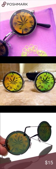Hologram Marijuana glasses ❌ NEW ❌ Never worn 90s weed hologram round glasses  Accessories Glasses