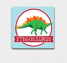 Stegosaurus Dinosaur Mounted Canvas Wall Art - Perfect for a little boys room! by JbeeDesign on Etsy