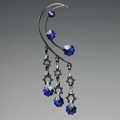 Heliotrope Swarovski crystal industrial wire ear by YouniquelyChic, $30.00