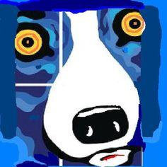 Vintage Blue Dog by ARTME on Etsy, $0.99  blue