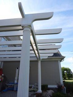 Construction - inner beams in place. Curved Pergola, Rainbow Light, Strip Lighting, Wind Turbine, Beams, Backyard, Construction, Led, Lights