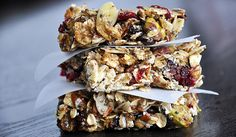Soft, chewy energy bars packed with healthy nuts an infused with honey.