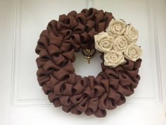 Dark Chocolate Brown Burlap Wreath with Ivory Burlap Flowers, Thanksgiving Decor, Holiday Decoration, Fall Colors, Autumn Harvest Collection on Etsy, $50.00