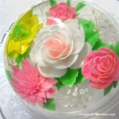 Delicious Gelatin Art Dessert - Roses drawn in clear jelly