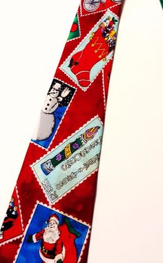 Christmas Holidays Santa Bicycle Snowman Postage Stamps Christmas Tree  Neck Tie #StNicksTieShop #NeckTie