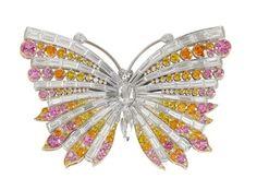 Multi gem butterfly brooch