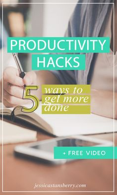 IM SUCH A LAZY PERSON! Seriously, my default personality is LAZY...like, crazy lazy yo, but Ive figured out some productivity hacks that help me get more done in my day.  Lets looks at 5 ways to get more done with these productivity hacks. #productivity #productive #businesstips #productivityhacks #productivitytips