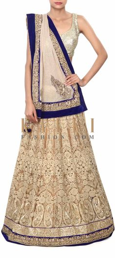 Buy Online from the link below. We ship worldwide (Free Shipping over US$100) Price- $439 Click Anywhere to Tag http://www.kalkifashion.com/gold-lehenga-saree-enhanced-in-kundan-and-thread-embroidery-only-on-kalki.html