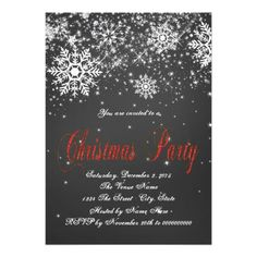 Snowflakes Chalkboard Corporate Christmas Party Personalized Invite