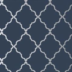 Anna French Klein Trellis Silver on Navy Wallpaper - - Seraphina Collection Wallpaper Accent Wall Bathroom, Trellis Wallpaper, Silver Wallpaper, Home Wallpaper, Chinese Wallpaper, Luxury Wallpaper, Wallpaper Online, Geometric Wallpaper, Custom Wallpaper