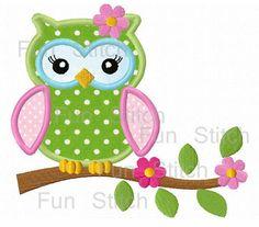 Girl owl on a flower tree applique machine embroidery von FunStitch, $2.79