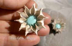 Origami flower earrings white flower earrings by TheWorldinpaper