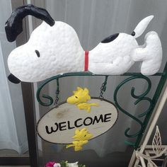 SNOOPY & WOODSTOCK~Welcome sign
