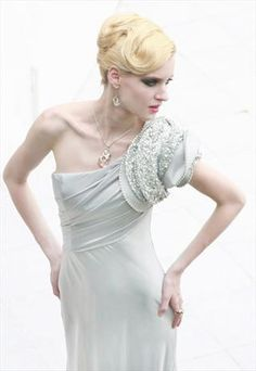Beaded Tencel One-Shoulder Evening Dress 80693
