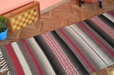 Handwoven rug, woven wool rug, handmade on a traditional Bulgarian loom