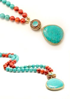Long Turquoise and coral stone pendant necklace  beaded by batyas