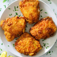 These Fried Chicken Thighs have a golden, crunchy breading with a juicy flavorful center. This easy chicken recipe is sure to become a family favorite! Oven Crispy Chicken, Dutch Oven Chicken Thighs, Breaded Chicken Thighs, Fried Chicken Thigh Recipes, Over Fried Chicken, Homemade Fried Chicken, Making Fried Chicken, Oven Chicken Recipes, Oven Recipes