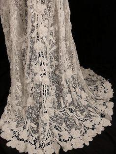 Exceptional RARE French Victorian 1800s Irish Crochet Lace Wedding Dress Sz 4 6 | eBay