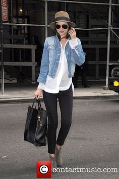 Black pants, white top and jean jacket
