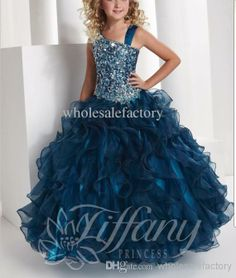 Wholesale Girl Dresses - Buy 2013 Asymmetrical Straps Princess Ball Gown Floor Length Organza Girls Pageant Dresses with Beading 13332, $92.6 | DHgate