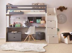 lit mezzanine enfant avec etagere design bibliothèque