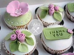 Beautiful thank you cupcakes, designed by Bake Pod. Thank You Cupcakes, Thank You Cake, Fancy Cupcakes, Pretty Cupcakes, Flower Cupcakes, Valentine Cupcakes, Rose Cupcake, Fondant Cupcake Toppers, Cupcake Cookies