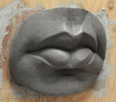 Clay mouth model lips Figurative Sculpture - Melanie Furtado: Guided Studio Sculpture Class