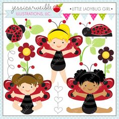 Little Ladybug Girls - set of 10 graphics for crafts and more.