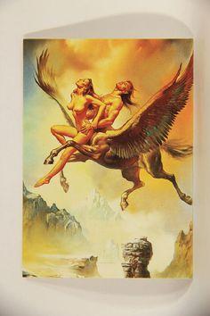 L011004 Boris Vallejo 1992 Card / Flying Centaur - 1980 Card #7 / ARTWORK