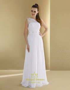 Chiffon One-Shoulder Neckline Slim A-Line Wedding Dress,One Shoulder Wedding Dress 2014
