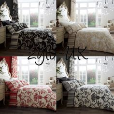 NEW Richmond Damask Floral Duvet Pillowcases Bedding Bed Set Curtains All Sizes