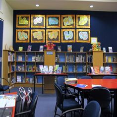 Art Display.  Wall mounted displays of student artwork inside the East Taieri School Library | Services to Schools