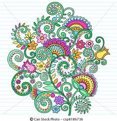 Vector - Psychedelic, Doodles, Bloemen, &, Wijngaarden - stock illustratie, royalty-vrije illustraties, stock clip art symbool, stock clipart symbolen, logo, line art, EPS beeld, beelden, grafiek, grafieken, tekening, tekeningen, vector afbeelding, artwork, EPS vector kunst