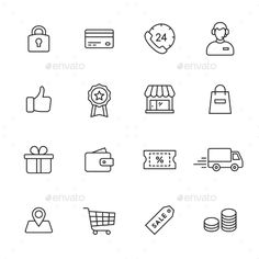 Shopping Line Icons — JPG Image #shopping #tag • Available here → https://graphicriver.net/item/shopping-line-icons/15001620?ref=pxcr