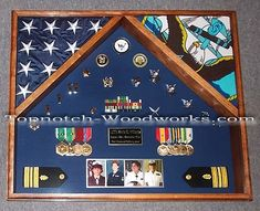 2 Flag Military Shadow Box by Topnotch Woodworks Military Retirement, Retirement Gifts, Military Shadow Box, Military Memorabilia, Red Oak, Usmc, Badges, Father, Flag