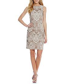 Calvin Klein Sequin Embroidered Lace Dress #Dillards
