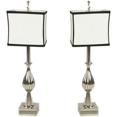 Pair of 1940's Nickel plated table lamps | 1stdibs.com