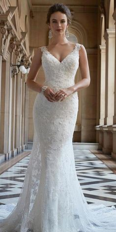 sophia tolli fall 2017 bridal sleeveless thick strap v nec. sophia tolli fall 2017 bridal sleeveless thick strap v nec. sophia tolli fall 2017 bridal sleeveless thick strap v neck full embellishment elegant fit and flar. Sheer Wedding Dress, Fall Wedding Dresses, Perfect Wedding Dress, Wedding Dress Styles, Bridal Dresses, Lace Dress, V Neck Fit And Flare Wedding Dress, Lace Wedding, Reception Dresses