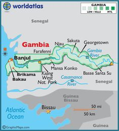 Map of Gambia. Travel to Gambia with GOLD COAST DMC. A member of GONDWANA DMCs, your network of boutique Destination Management Companies across the globe. www.gondwana-dmcs.net