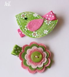 Pink & green - use any color combination and make a hair bow, a bracelet, a pin for a little girl.