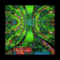 Hundertwasser- Green-Town (For image analysis) This composition resembles to an aerial view looking down on a part of land. I could try something like this with my work by searching a place that has particular interest to me  on google maps and then translating this visually as a painting.